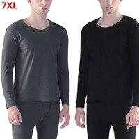 New men's stripes thermal underwear oversized autumn winter loose plus size cotton round neck autumn clothes long pants suit 7XL