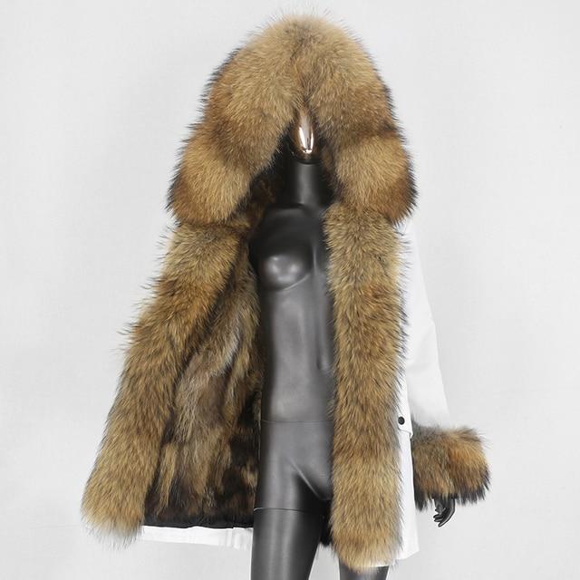 BLUENESSFAIR Long Waterproof Parka Winter Jacket Women Real Fur Coat Natural Raccoon Fox Fur Outerwear Streetwear Removable