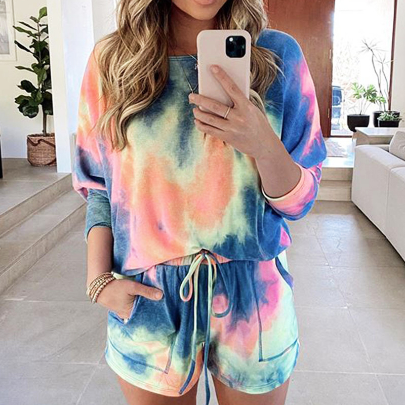 Fashion Jumpsuit Bodysuit Women Tie-dye Printed Fashion Home Casual Shorts Suit Women Two Piece Playsuits Print Two Piece