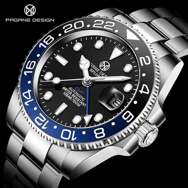 PAGRNE DESIGN Luxury Brand Mens Watch Automatic Mechanical GMT 100m Waterproof Stainless Steel 40mm Sapphire Glass Fashion watch 1