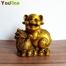 Bronze pig sculpture Lucky fortune copper ornaments Pair of wealth lucky pigs Home decoration