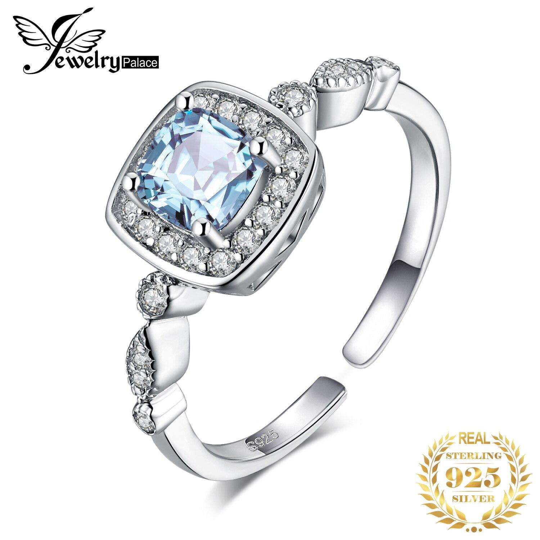 JewelryPalace 1ct Genuine Topázio Azul Anel de Prata Esterlina 925 Anéis para As Mulheres Anel de Noivado de Halo 925 Pedras Preciosas Jóias de Prata