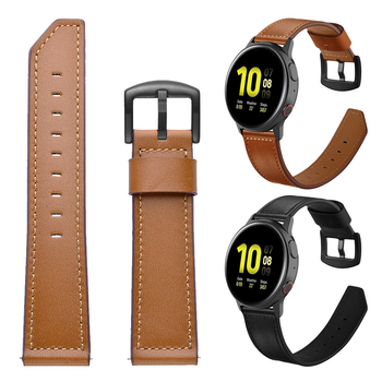 Black metal clasp Leather strap for Samsung Galaxy Watch Active 2 44mm 40mm/Galaxy Watch 46mm 42mm/Gear Sport S3 Band Watchband