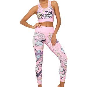Женский спортивный костюм для фитнеса, летний комплект спортивной одежды из комиксов, «взрывы», «Йога», укороченный топ с высокой талией, бю...