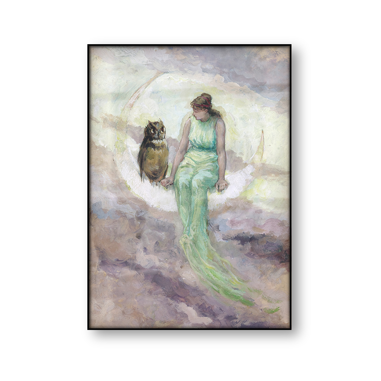 Винтажный постер ведьмы доутер Луна богиня холст картина женщина на Полумесяце Луна Сова Античная сказка Настенная картина