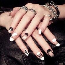 24Pcs Cute Simple Black White Geometry Lattice Fake Nail Press on Women