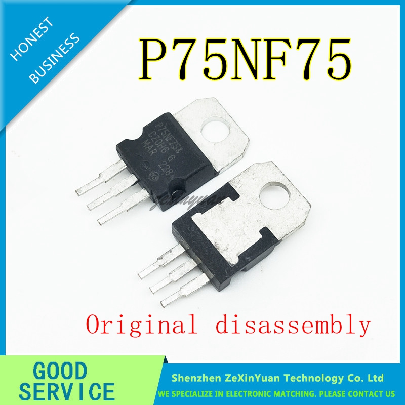 50PCS/LOT  STP75NF75 STP75N75 P75NF75 75NF75 75N75 - MOSFET N-CH 75V 80A 300W TO-220-3(TO-220AB) USED Original Disassembly