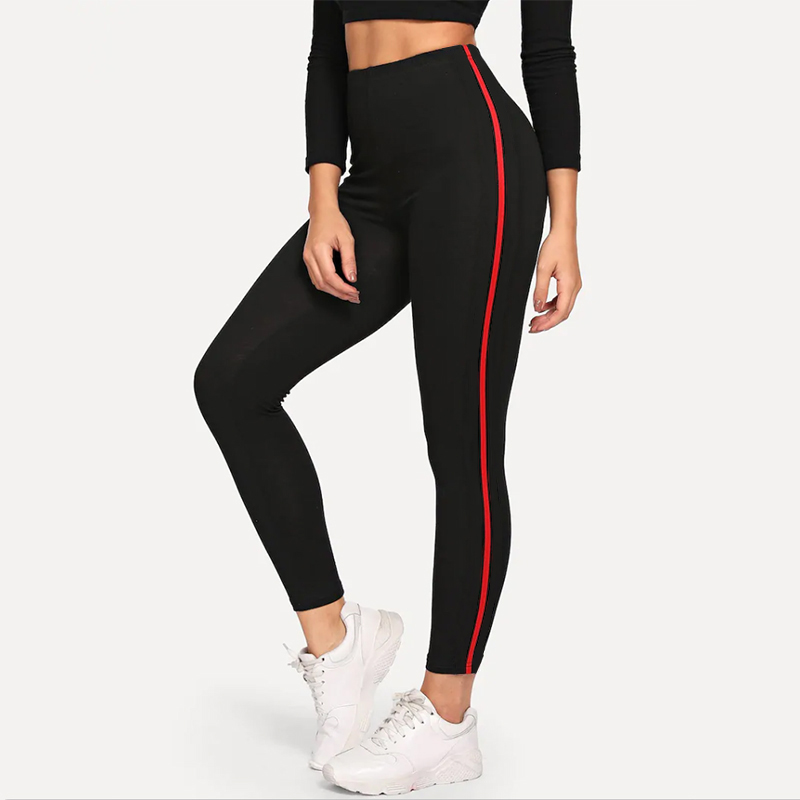 ZSIIBO New Fashion Home Fitness Leggings Side Red Stripes Pure Black Leggings High Waist Stretch Fitness Slim Pants