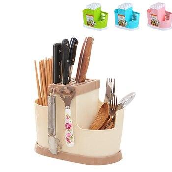 Knife Holder Spoons Chopsticks Organizer Kitchen Drain Rack Tableware Cage Plastic Storage Shelf Gadgets Tools Stand For Knife