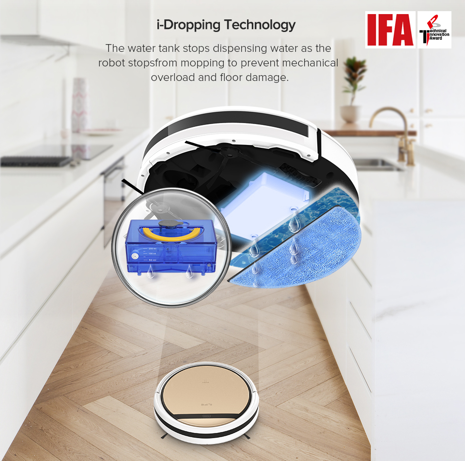 H759d9d9626d2434c92c0ddb5b5bed4be1 ILIFE V5sPro Robot Vacuum Cleaner vacuum Wet Mopping Pet hair and Hard Floor automatic Powerful Suction Ultra Thin disinfection