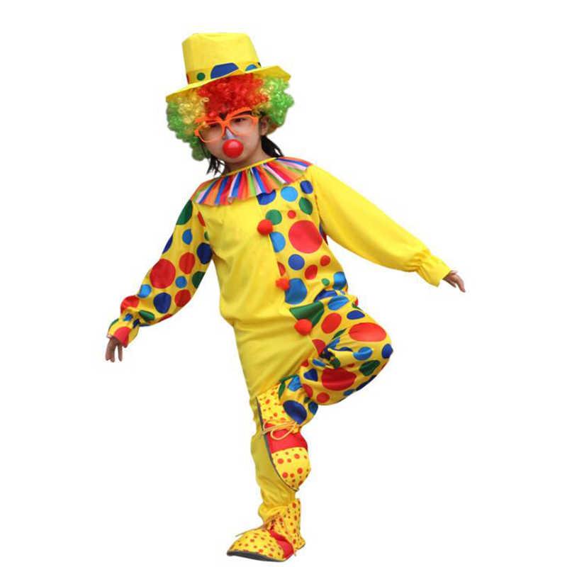 Halloween Kostum Anak Lucu Sirkus Badut Cos Kostum Set dengan Topi Nakal Harlequin Seragam Mewah Cosplay Pakaian untuk Anak Laki-laki Perempuan