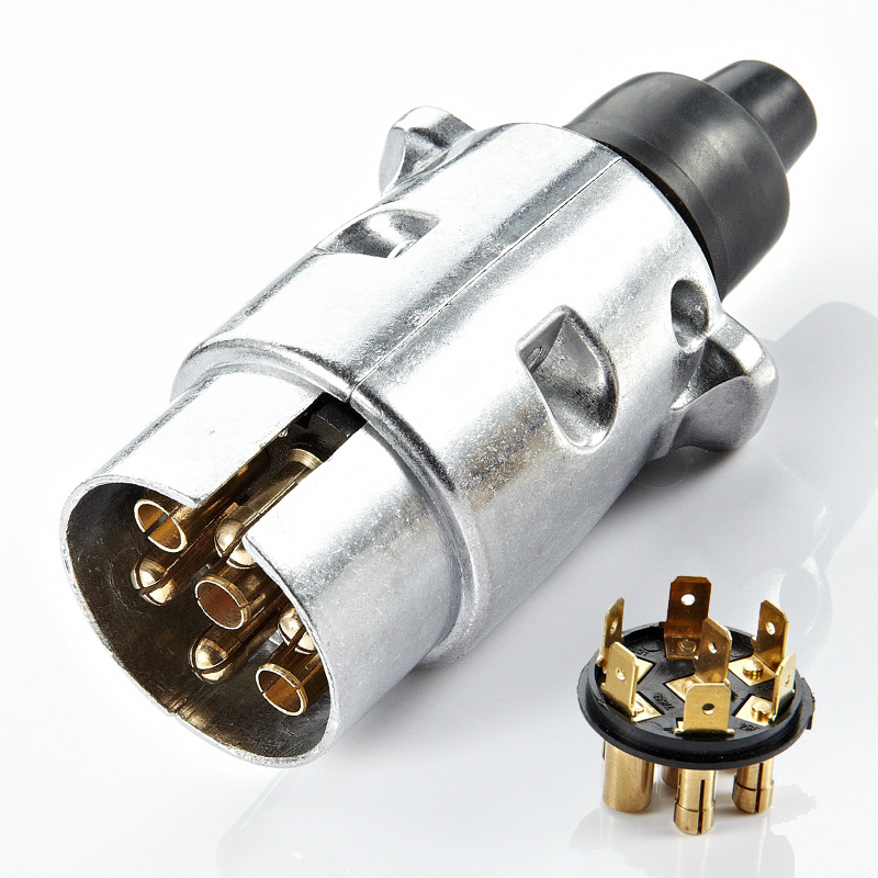 12V 7 Pin Plug Round Male Metal Caravan Trailer Truck Aluminum Alloy Truck Towing Electric Plug Connector Lighting Board Plug