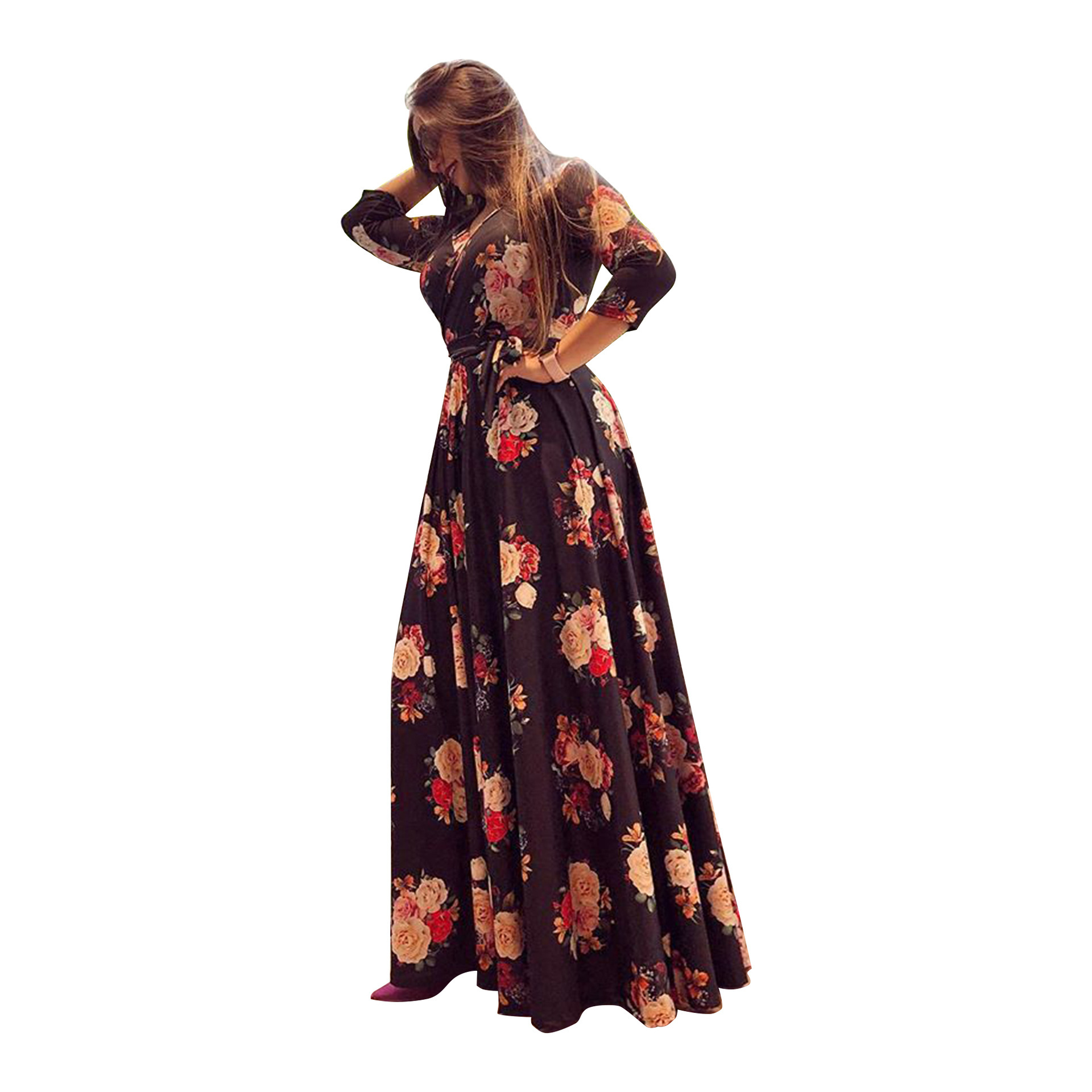 H759dc84900e24b50a7bc48f2e03a14ea3 - Oufisun Spring Sexy Deep V Neck Women's Dress Bohemia Tunic Maxi Dresses Elegant Vintage Flowers Print Dress Vestidos Plus Size