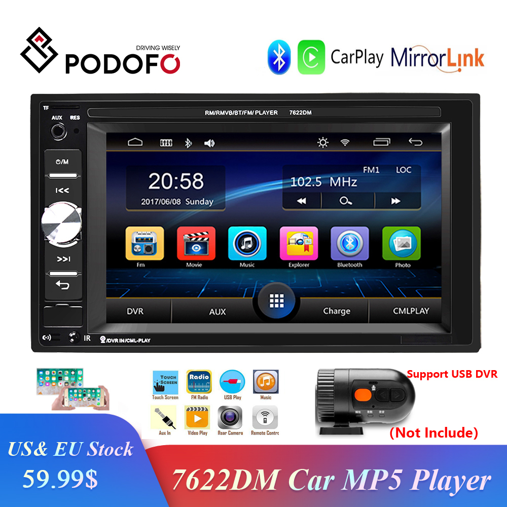 Podofo 2 Din Car Multimedia Player Audio Stereo Radio 6.2