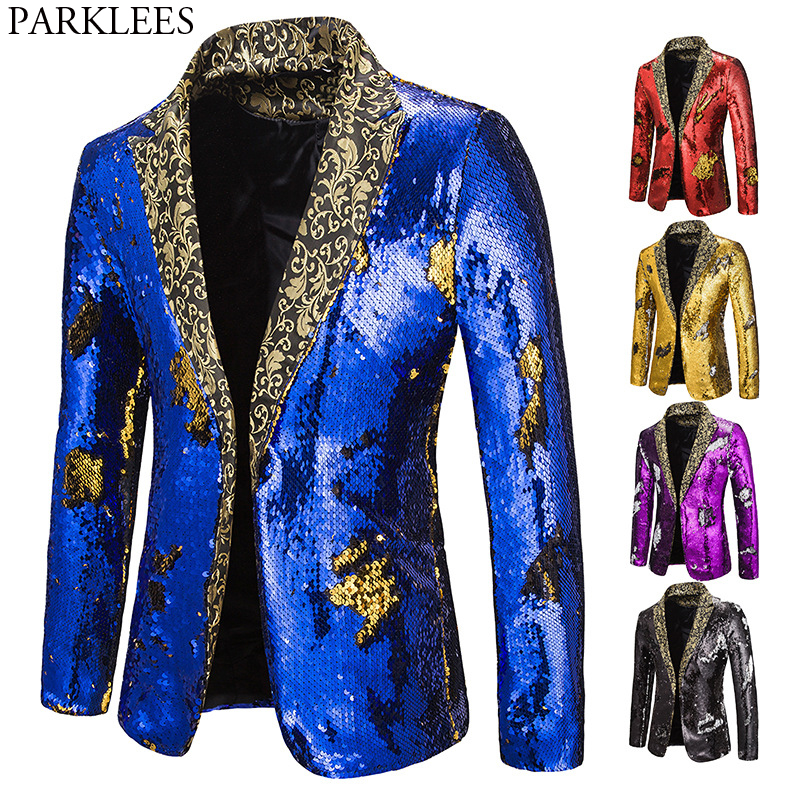 Luxury Royal Blue Sequin Glitter Blazer Jacket Men Flower Lapel 2 Color Conversion Blazers Mens Nightclub Stage Singers Custmes