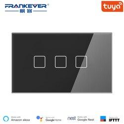 FrankEver Israel ekran dotykowy inteligentny włącznik światła 1/2/3 Gang US standardowy przełącznik czasowy Wifi 3 kolor praca z Alexa Google Home