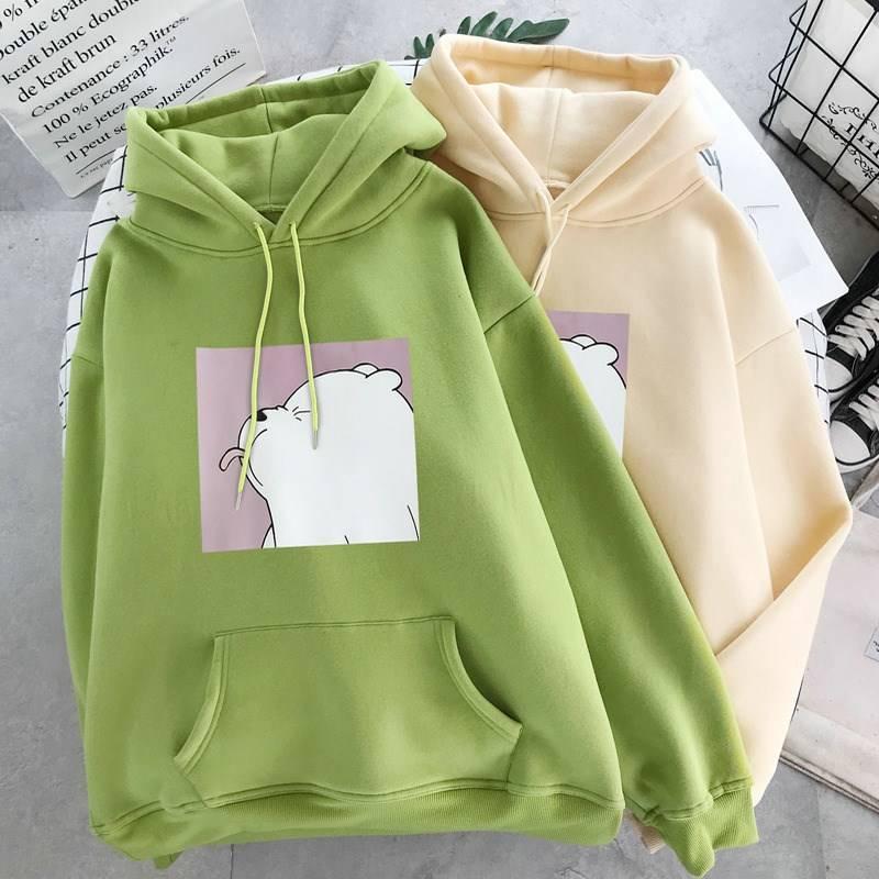 Winter Women's Sweatshirts  Warm Plus Velvet New Harajuku Cartoon Printing Hoodies Student Tops