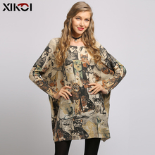 XIKO 新猫プリント女性のセータードレス冬特大プルオーバーソフトウォームバットウィングスリーブプルファムファッションニット服