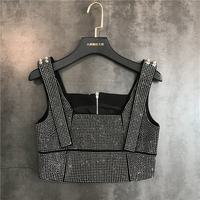 New Type Heavy Industry Water Drill Hot Drill Bright Shoulder Belt Zipper Suspender vest Breast wiping Tide
