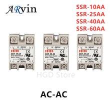 SSR-10AA SSR-25AA SSR-40AA SSR-60AA SSR 10A 25A 40A 60A твердотельные реле постоянного тока модуля на рост от 80 до 250V Вход переменного тока 24-380V AC Выход