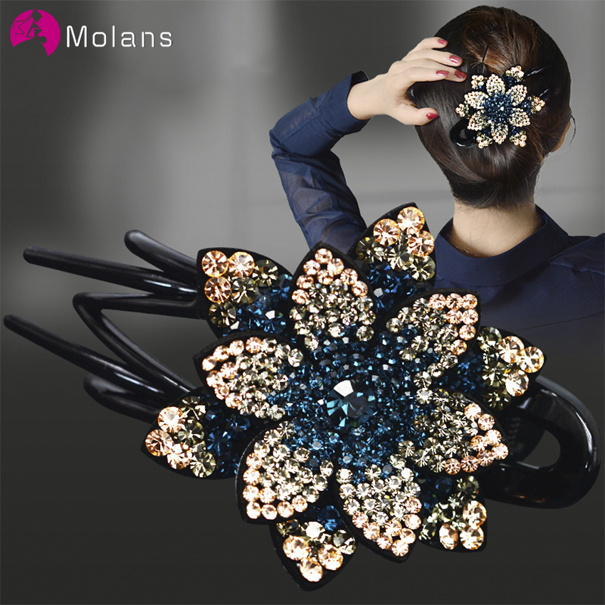 Molans Rhinestone Flower Duckbill Hair Claws Vintage Hair Clips Hair Accessories For Women Shinning Hairpin Ponytail Headwear