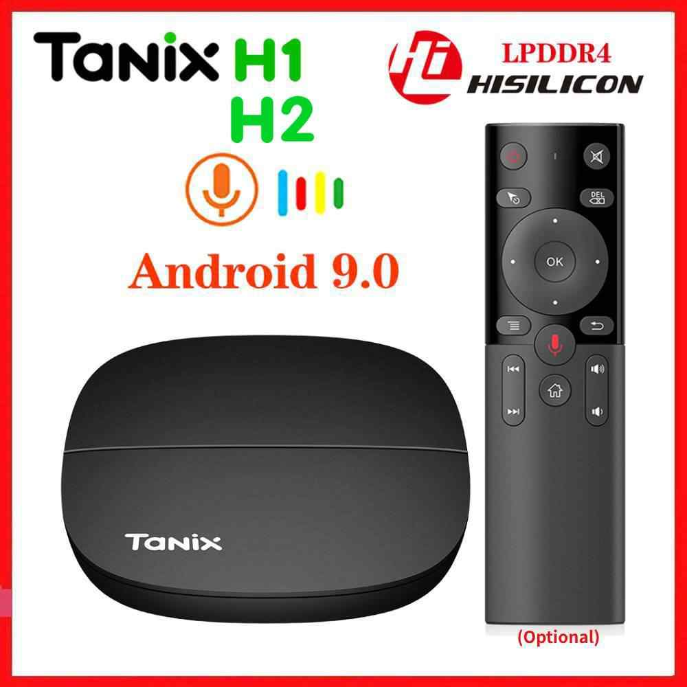 Tanix H1 H2 ทีวีกล่อง Android 9.0 Hisilicon Hi3798M LPDDR4 2GB 16GB Quad Core 4K 30fps 2.4G WiFi Google Player YouTube Netflix