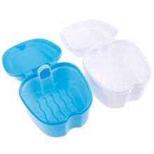 Caja de almacenaje para dentadura postiza, caja de Limpieza de dientes, contenedor Dental con Red, Color blanco y azul, 1 ud.