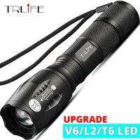 Linterna LED de 8000LM, luz táctica brillante para acampar, pesca, T6, V6, L2, recargable, resistente al agua, autodefensa, 18650