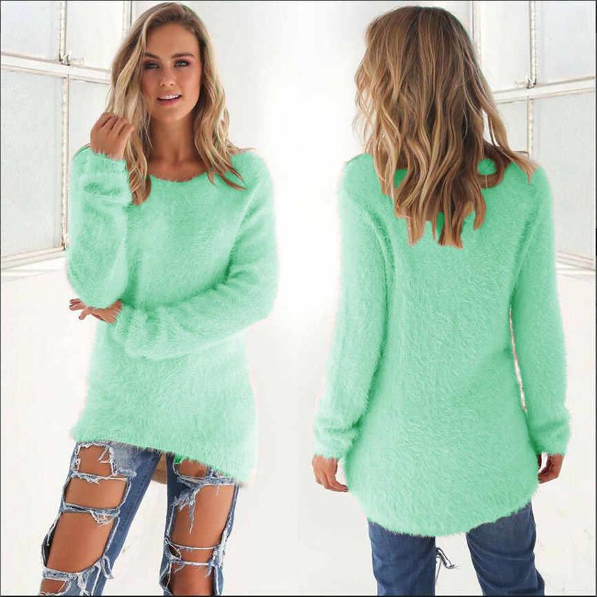 Camisola fina feminina topos casual sólido manga comprida blusas blusa abrigos mujer invierno 2019