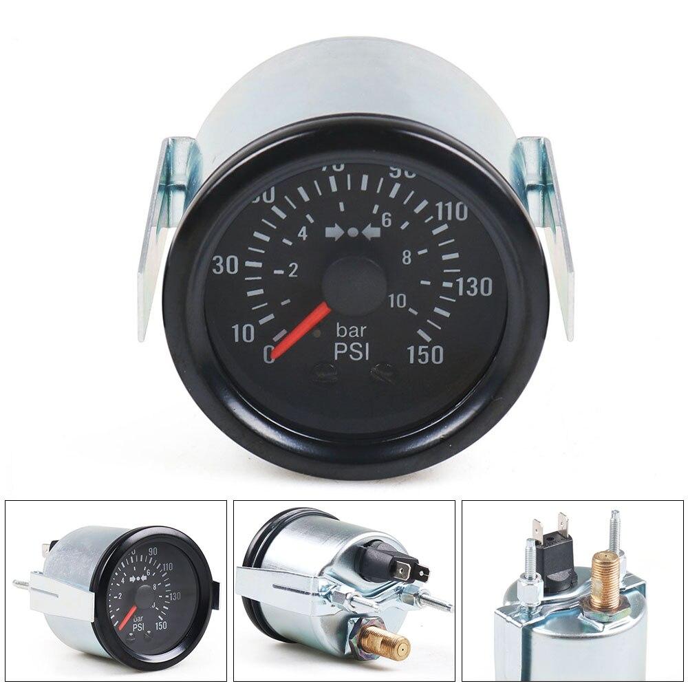 Автомобильный манометр NPT1/8, механический измеритель давления воздуха, 2 дюйма, 52 мм, 0-10 бар, 0-150 фунтов на квадратный дюйм, с желтым светом, с д...