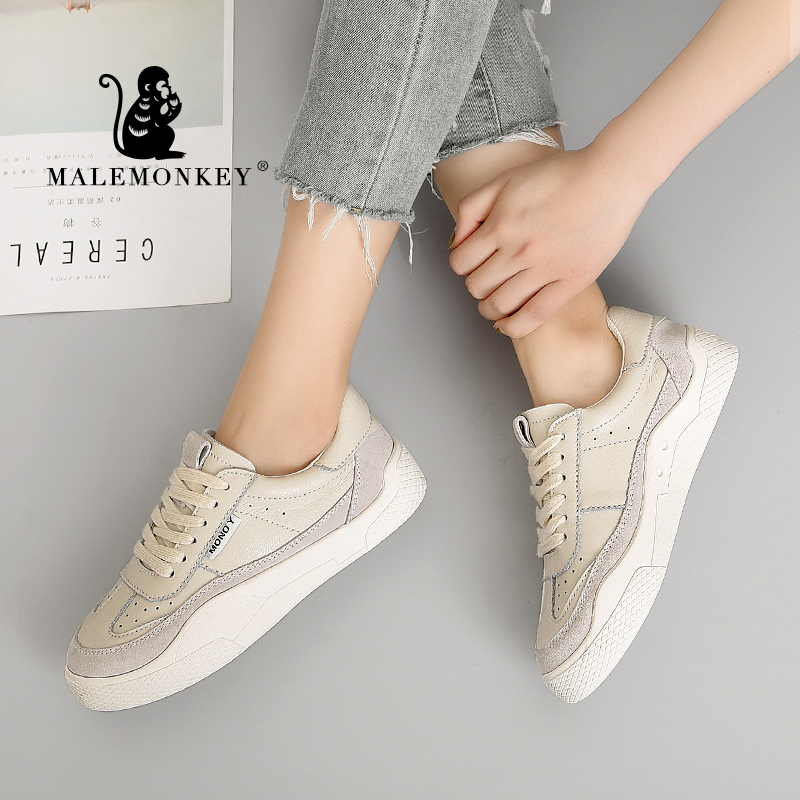 Clearance SaleMALEMONKEY 831645 Women Sneakers Lace-up Casual Ladies Shoes White 2020 Fashion Breathable Flat Bottom Comfortable Women Shoes