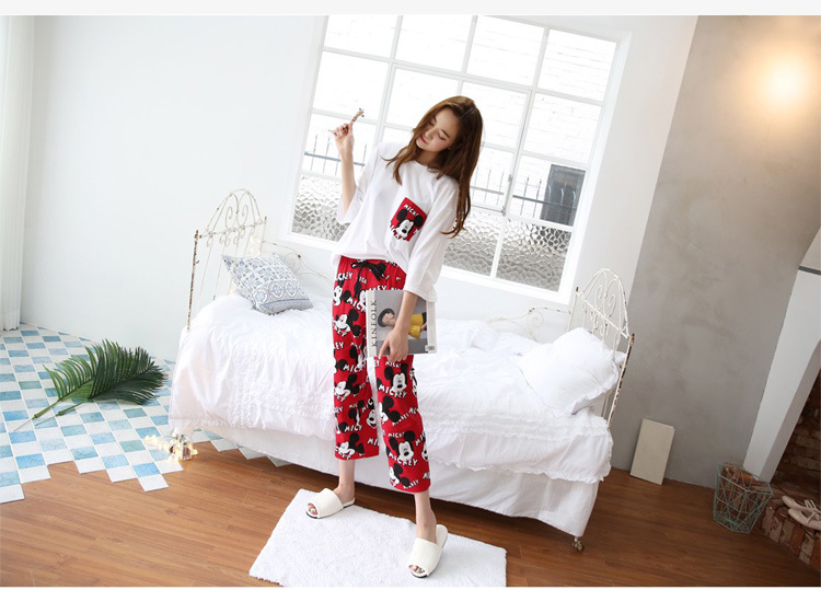 2019 Fashion Lovely Leisure Two Piece Set Mickey Printing Indoor Clothing Home Suit Sleepwear Winter Pajamas Woman Pijama Mujer 45