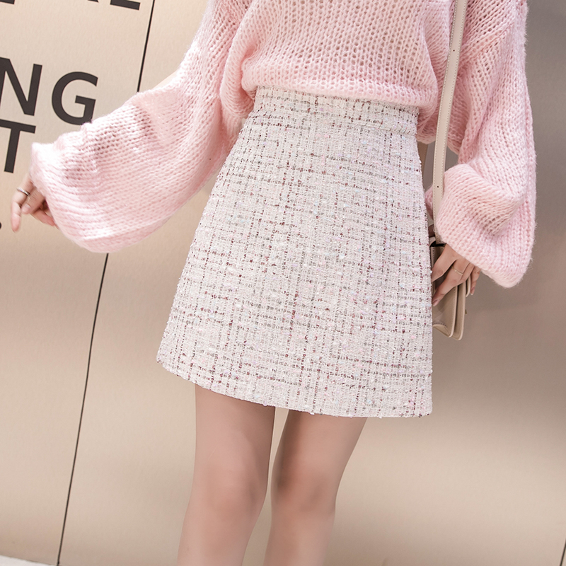 HAMALIEL Women Tweed Half-length Skirt Autumn Winter High Waist Plaid Wollen Tassel Short Skirt Chic Black Bodycon A Line Skirt