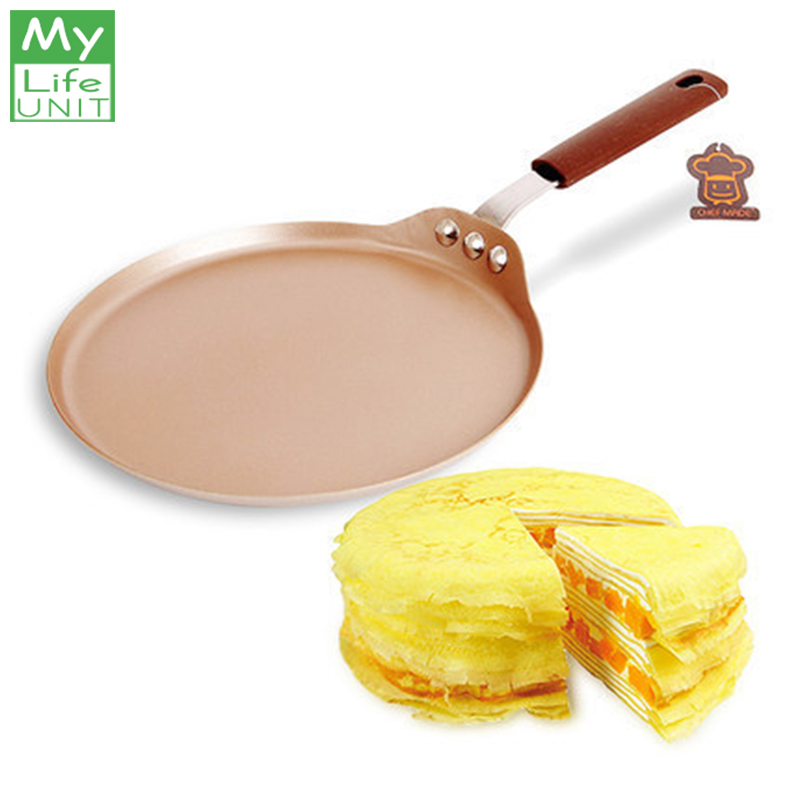 MyLifeUNIT Cabon Steel Pancake Pizza Frying Pan Non Stick Round Crepe Cake Griddle Kitchen Tools