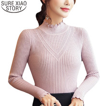 Sueter mujer invierno 2019 hiver tricot pull femmes et pulls coréen haut solide col roulé rose pull vêtements 6373 90(China)