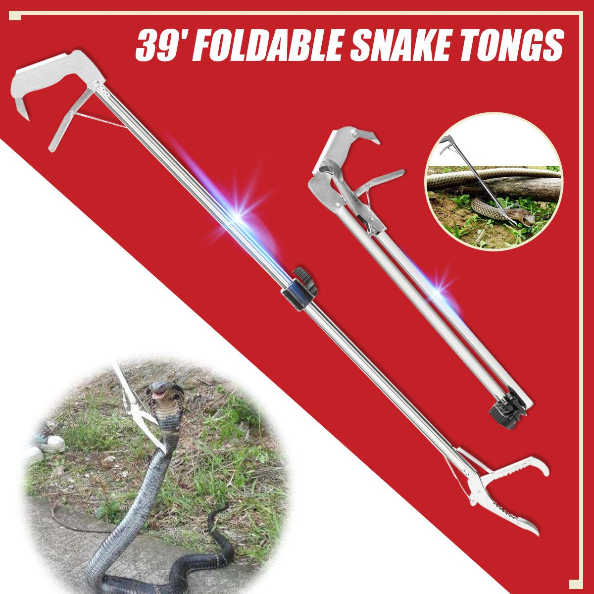 "39""/47"" Reptile Snake Tongs Stick Self locking Tool Foldable Snake Catcher Clamp Grabber Wide Jaw Tool Heavy Duty Pest Products