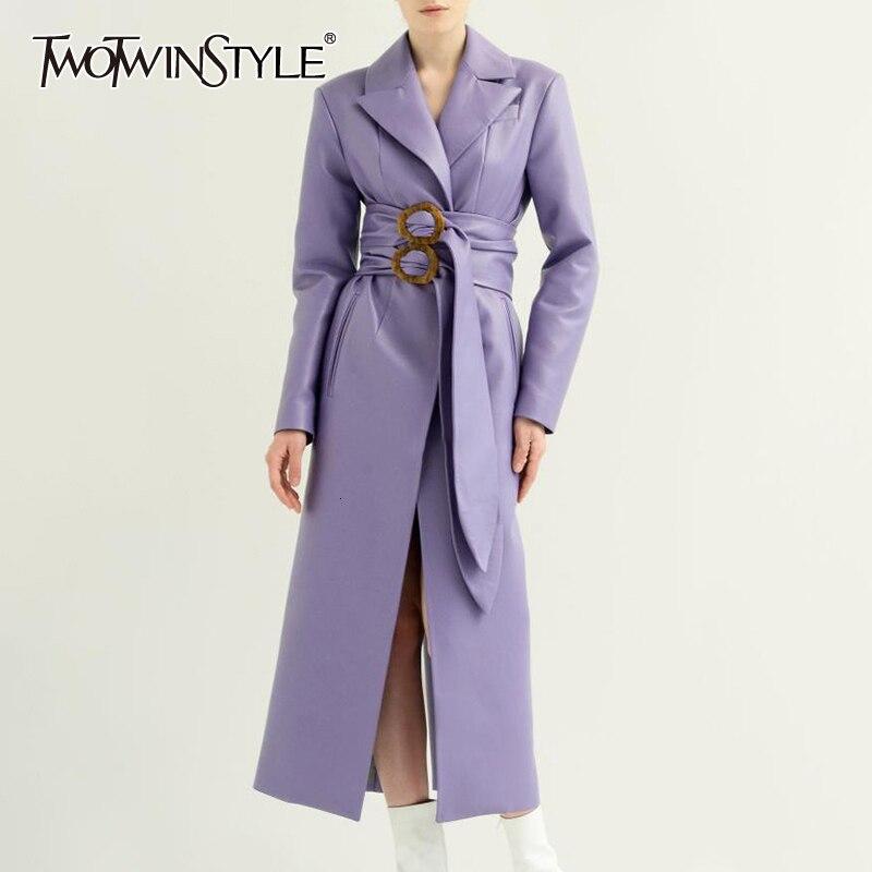 TWOTWINSTYLE Elegant PU   Leather   Women's Coats Notched Long Sleeve High Waist With Sashes Female Coat Autumn Fashion New 2019