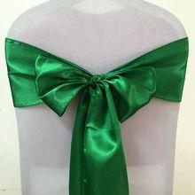 WedFavor, 100 шт, изумрудно-зеленый бант на свадебный стул, галстук-бабочка, атласные пояса для стула, вечерние, банкетные, праздничные, гостиничные украшения