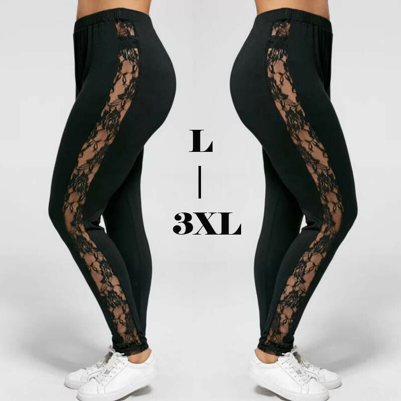 Womens High Waist Leggings Sexy Floral Lace Pants Side Sheer Black Leggings Slim Stretch Trousers Plus Size