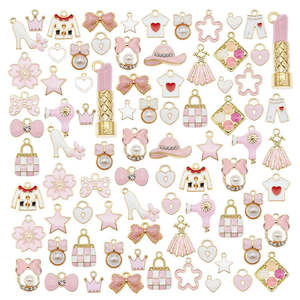 Julie Wang 25PCS Enamel Charms Mixed Pink White Clothes Flower Star Tie Lipstick Heart Pendants Alloy Jewelry Making Accessory