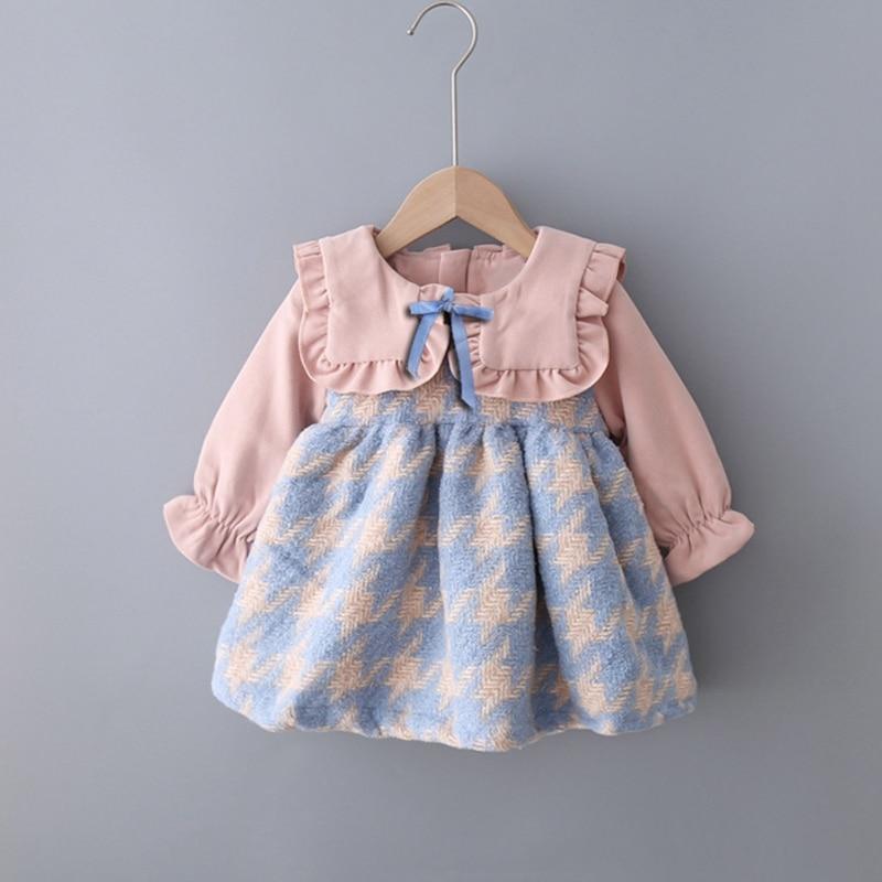 Warm Winter Girls Kids Knitwear Velvet Long Sleeve Ruffle Dress Children Baby Infants Princess Party Dresses Vestidos S10173