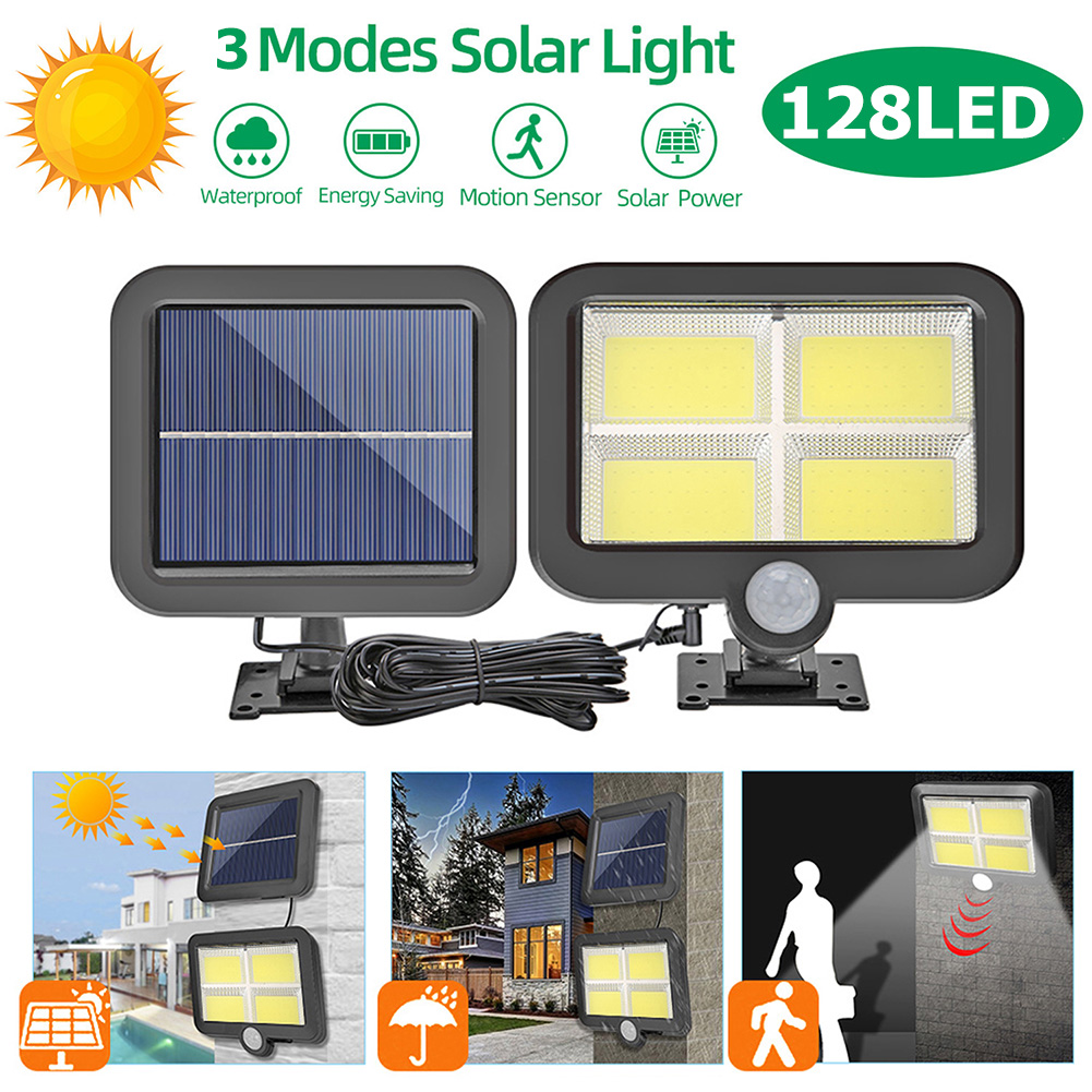 COB 128 LED Solar Powered Motion Sensor Wall Light Outdoor Garden Security Night Wall Split Solar Lamp 1/3 Modes
