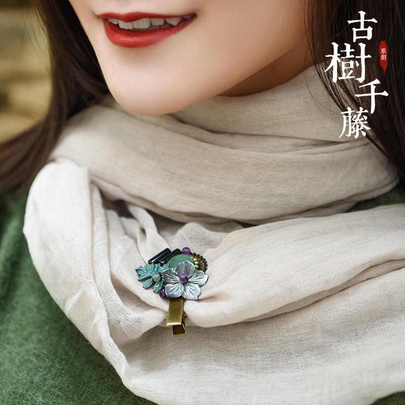 Etnis Bros untuk Wanita Perunggu Kupu-kupu Batu Alam Rambut Cakar Vintage Rambut Pin Shell Bunga Perunggu Aksesori Fa