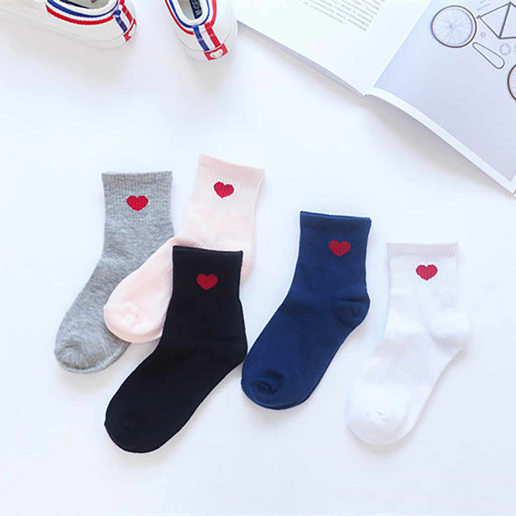 Womail חדש סגנון נשים של גרביים קצר קרסול אופנה לב בצורת גבירותיי קצר יפני גרביים בצורת לב אדום לב גבירותיי גרביים