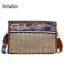 Retro bag Women messenger bags Embroidered style Large-capacity Sling Straw 2019 Autumn and winter new