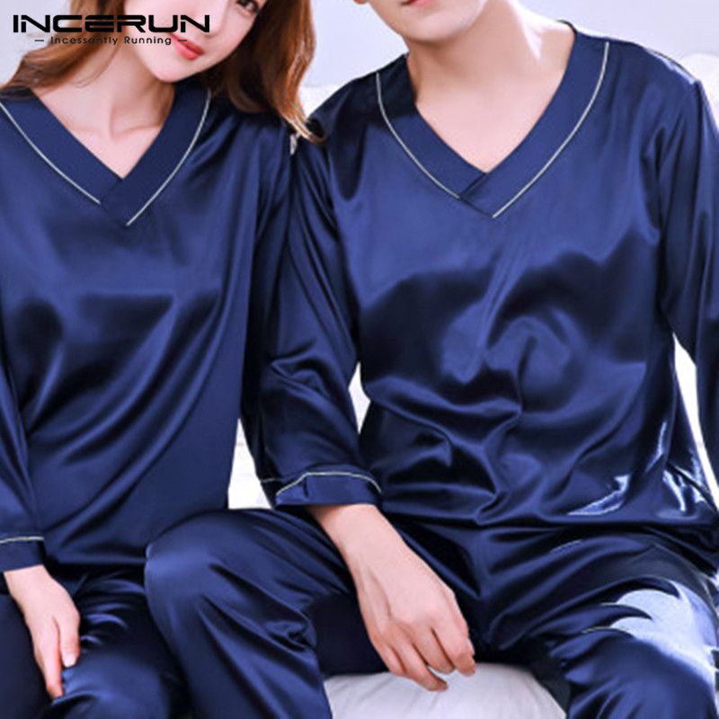 INCERUN Men Nightwear Long Pants Sleep Pajamas Set Long Sleeve Sleepwear Soft Cozy Satin Nightgown V Neck Pajamas Suit Man Women