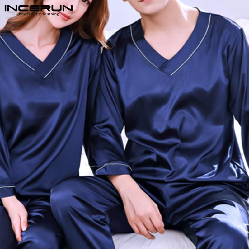 INCERUN Men Nightwear Long Pants Sleep Pajamas Set Long Sleeve Sleepwear Soft Cozy Satin Nightgown V Neck Pajamas Suit Man Women