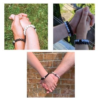 Hot 2pcs/set 7 Style Couples Distance Bracelet Classic Natural Stone White And Black Yin Yang Yoga Beaded Bracelet for Men Women 1