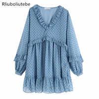 Robe à volants en cascade à pois femmes à manches longues col en v douce mini robe taille haute automne bleu robe courte