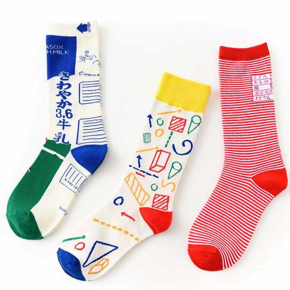 Frauen Socken Baumwolle Lustige Nette Cartoon Funktion formel tafel Milch karton Platz Grafiken Japanischen Harajuku skateboard Soc
